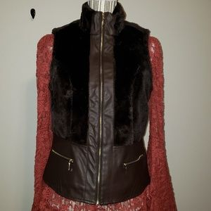 Baccini dark brown, size M, Faux Leather vest NWT